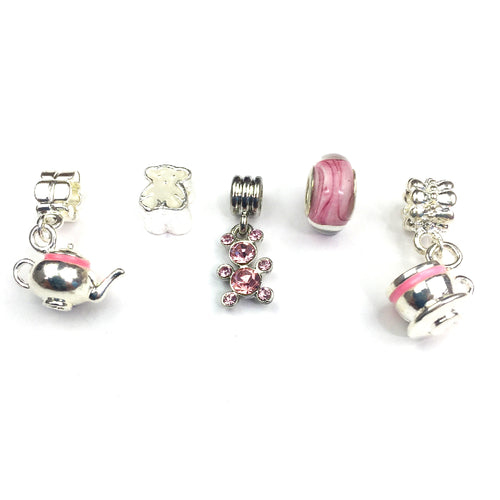 Set of 5 Silver Plated Teddy Bear's Picnic Themed Charms and Beads