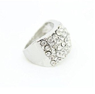 Designer Celebrity Silver Tone and Crystal Diamante 'Shimmer' Cocktail Ring