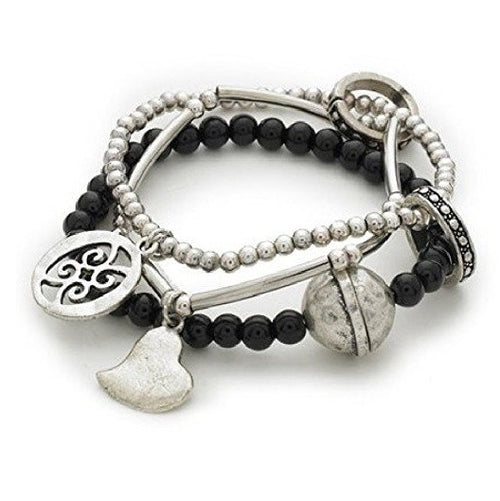 Black & Silver Tone 'Capture My Heart' Stretch Charm and Bead Bracelet