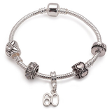 silver bracelet, 60th birthday gifts and charm bracelet gifts for 60 year old