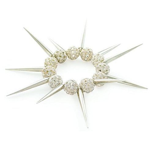 Designer Celebrity Style 'Silver Spike' Czech Crystal Bead Stretch Bracelet