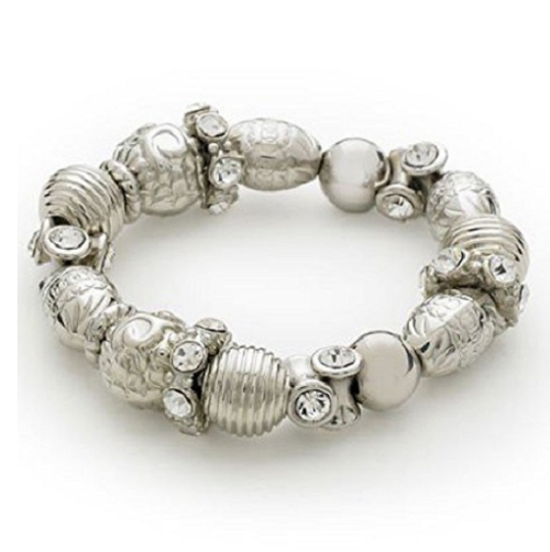 Designer Inspired 'Love Song' Silver Tone Diamante Stretch Bracelet