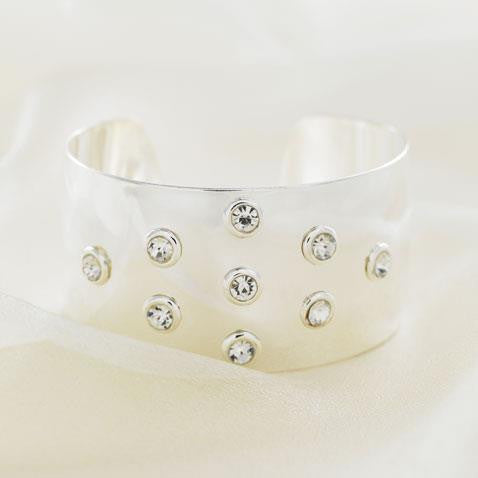Designer Celebrity Style 'Twinkle' Diamante and Silver Cuff Bangle
