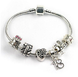 Teenager's Sis Sister 'Happy Birthday Teen Queen' Age 13/16/18 Silver Plated Charm Bead Bracelet