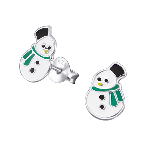 Children's Sterling Silver Christmas Snowman with Green Scarf Stud Earrings
