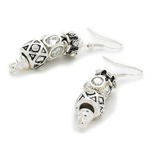 Silver Plated 'Sparkly Silver' Bead Charm Earrings