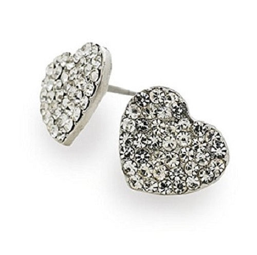 Designer Style Silver and Crystal Diamante 'Sparkle Heart' Stud Earrings