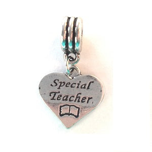 Silver Plated Special Teacher Heart Drop Charm