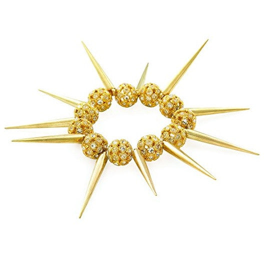 Designer Celebrity Style 'Gold Spike' Czech Crystal Bead Stretch Bracelet