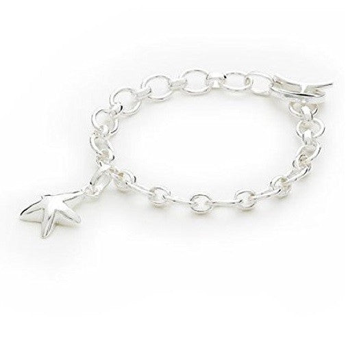 925 Sterling Silver Plated 'Starfish' T-Bar Quality Charm Bracelet
