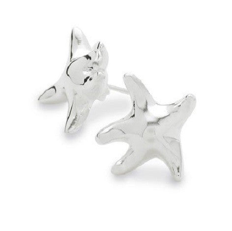 Silver Plated Designer Inspired 'Starfish' Stud Earrings