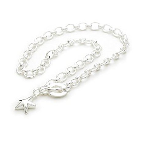 925 Sterling Silver Plated 'Starfish' T-Bar Quality Charm Necklace