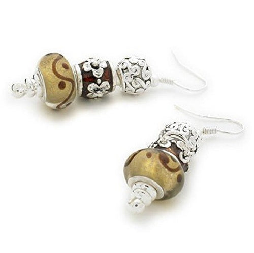 Silver Plated 'Cinnamon Swirl' Bead Charm Earrings