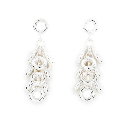 925 Sterling Silver Plated Designer Inspired 'Scatter Kisses' Tassel Drop Earrings