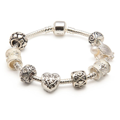 Teacher 'Cascade Cream' Silver Plated Charm Bead Bracelet