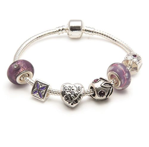 Teacher 'Purple Haze' Silver Plated Charm Bead Bracelet