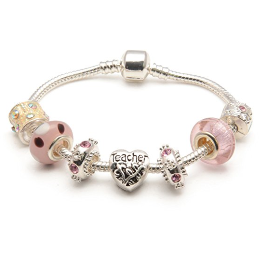 Teacher 'Vanilla Kisses' Silver Plated Charm Bead Bracelet