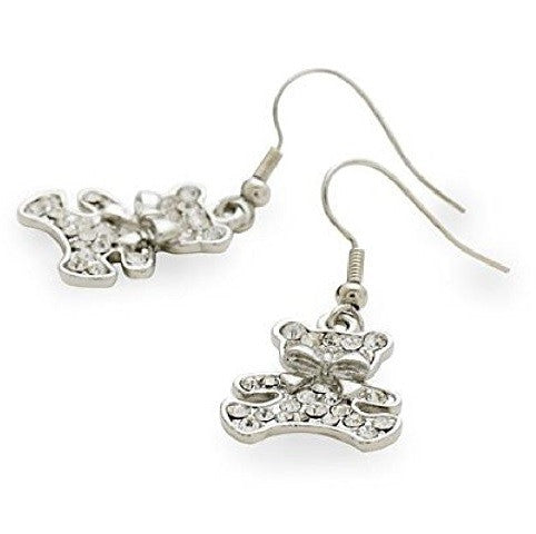 Designer Style Silver Tone and Crystal Diamante 'Teddy Rock' Drop Earrings