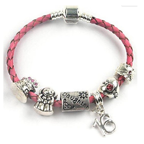 Teenager's Daughter 'Happy Birthday Chick' Age 13/16/18 Pink Braided Leather Charm Bead Bracelet