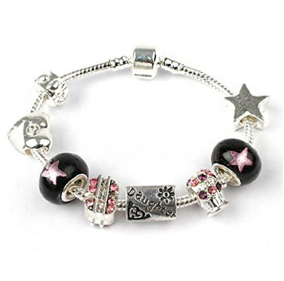 Teenager's Daughter 'Rock Star Deluxe' Silver Plated Charm Bead Bracelet