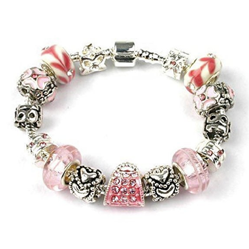 Silver And Pink Bracelet 18th 13th Or 16th Birthday Gifts Girl Charm