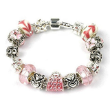 silver and pink bracelet, 18th, 13th or 16th birthday gifts girl and charm bracelet gifts for 13, 18 or 16 year old girl