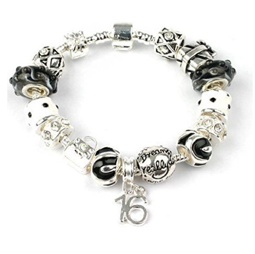 teenage charm bracelet in black and silver for 13, 16th or 18th birthday girl