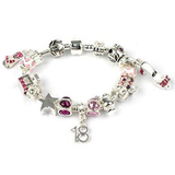 Teenager's 'Fashionista' Age 13/16/18 Silver Plated Charm Bead Bracelet