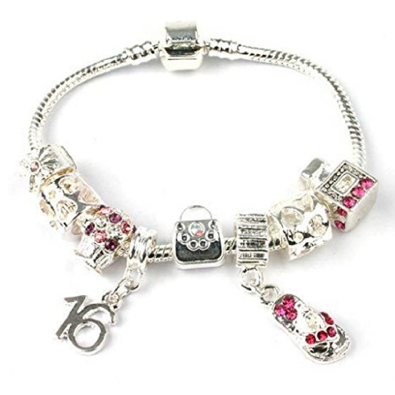 Teenager's 'Handbags & Gladrags' Age 13/16/18 Silver Plated Charm Bead Bracelet