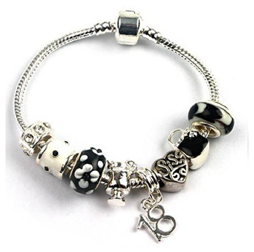Teenager's Sis Sister 'Kitsch Couture' Age 13/16/18 Silver Plated Charm Bead Bracelet