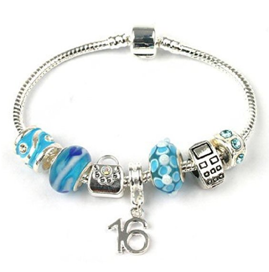 Teenager's 'Party All Night' Age 13/16/18 Silver Plated Charm Bead Bracelet
