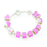 Children's Personalised Name 'Think In Pink' Silver Plated Charm Bead Bracelet