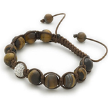 Designer Inspired 'Stern's Star' Tiger's Eye Gemstone/Silver Pave Czech Crystal Disco Ball Shamballa Bracelet