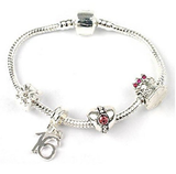 Teenager's 'Birthday Treasure' Age 13/16/18 Silver Plated Charm Bead Bracelet