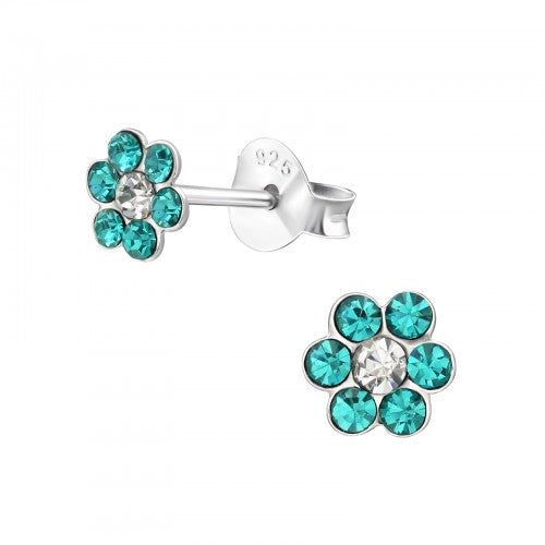 Children's Sterling Silver Turquoise Diamante Flower Stud Earrings