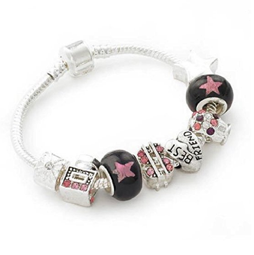 Teenager's/Tween's 'Best Friends Love 2 Party' Silver Plated Charm Bead Bracelet