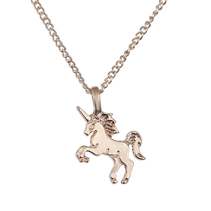 Children's Rose Gold Coloured Unicorn Pendant Necklace