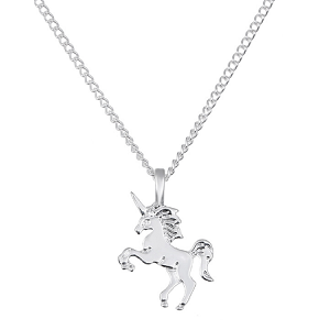 Children's Silver Coloured Unicorn Pendant Necklace