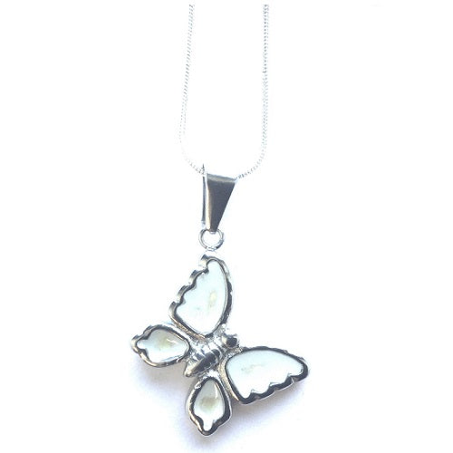 Children's Silver Plated Necklace With White Butterfly Pendant