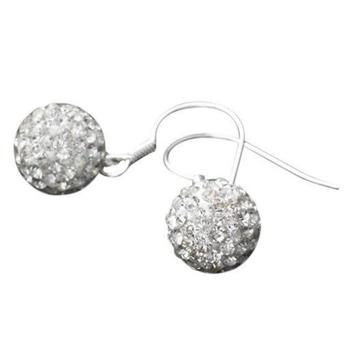 925 Sterling Silver White Czech Crystal Disco Ball Shamballa Earrings