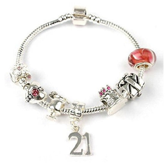 silver and pink princess jewellery, princess bracelet, 21st birthday gifts girl and charm bracelet gifts for 21 year in a pouch