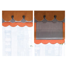 Valance,Custom Classic roman shade made, washable Silk fabric flat and fold with cord, Gray &orange,SG-112