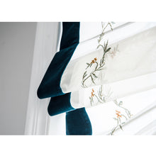 Valance,Custom Classic roman shade made, washable White yarn and embroidery flat and fold with cord, Blue velvet hem,SG-106