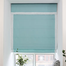 Valance,Custom Classic roman shade made, washable Cotton and linen fabric flat and fold with cord, blue-green,SG-096