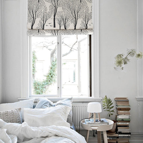 Quick Fix Washable Roman Window Shades Flat Fold, Forest Birch Grove