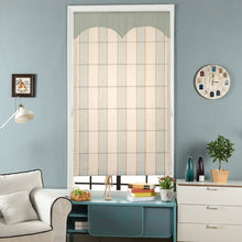 Quick Fix Washable Roman Window Shades Flat Fold with Valance, SG-018 Light Blue Stripes