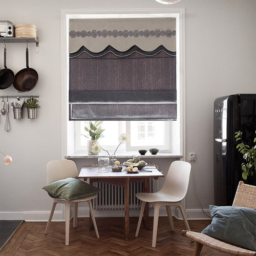 Valance,Custom Classic roman shade made, washable Three-dimensional flannelette flat and fold with cord,Smoke grey,SG-124