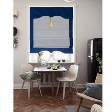Valance,Custom Classic roman shade made, washable Cotton linen and fold with cord, Navy Blue Check,SG-133