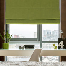 Plain Color Washable Linen Blinds, Fabric Roman Shades, Window Blinds - Green