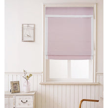 Valance,Custom Classic roman shade made, washable Cotton and linen fabric flat and fold with cord, pink,SG-097